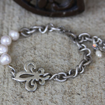 Fleur De Lis Bracelet, hammered, pewter, religious, artisan, twisted chain, hand knotted pearls, sterling silver wax seal charm