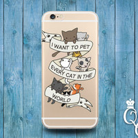 iPhone 4 4s 5 5s 5c SE 6 6s 7 plus + iPod Touch 4th 5th 6th Gen Funny Cool Clear Cover Quote Cat Cats Meow Animal Pet Cute Phone Case Gift
