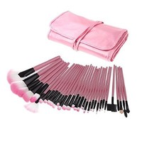 MeGooDo Professional Women Makeup Cosmetic Brush Set with Roll up carrying case (32pcs(pink))