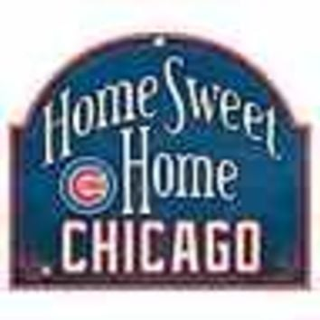 "CHICAGO CUBS HOME SWEET HOME ARCHED WOOD SIGN 10""x11"" BRAND NEW WINCRAFT"