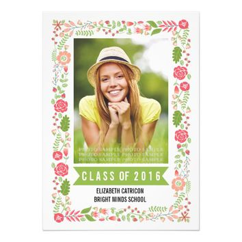 Class of 2016 graduation floral border photo 5x7 paper invitation card