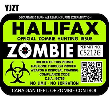 YJZT 15x11.3cm Fashion Canada Halifax ZOMBIE Hunting License Permit Retro-reflective Decal Car Sticker C1-8116
