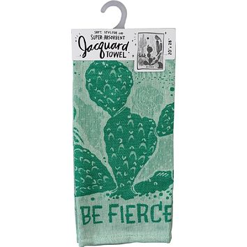 Be Fierce Woven Dish Towel in Green Cacti