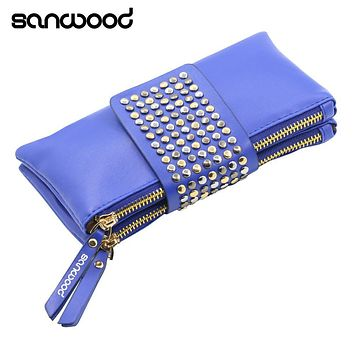 Women Rivet Zipper Wallet Holder Card Coin Clutch Purse Wristlet Evening Bag