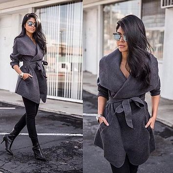 Women Simple Casual Solid Color Cardigan Strappy Long Sleeve Lapel Windbreaker Coat