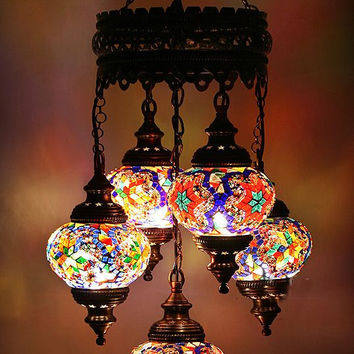 Handmade glass mosaic lamp, 5 pieces , Ottoman design Turkish chandelier, Mosaic lamp chandelier