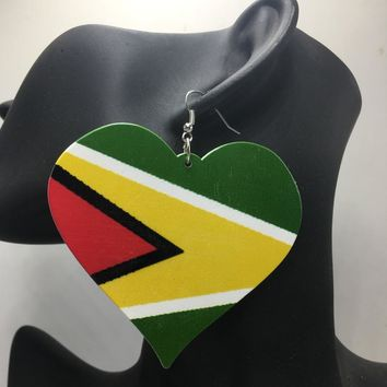 Free Shipping!Printing Guyana Flag Heart wooden earrings
