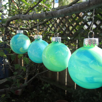 Aqua Blue with Neon Yellow and Green Glass Christmas Ornament. Hand painted glass, glow in the dark paint, OOAK