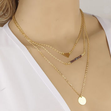Gold Layer Necklace Set of 3 Layered Necklaces / Necklace in Gold /  Layering Necklace Set  XN018