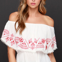 Austin Pretty Limits Embroidered Ivory Off-the-Shoulder Top