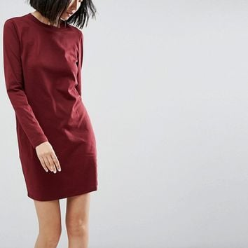 ASOS Open Back T-Shirt Dress with V Back and Long Sleeves at asos.com
