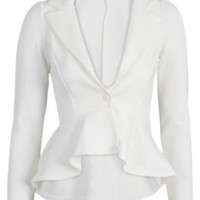 Crazy Girls Womens Ladies Fitted Dip Hem Peplum Style Blazer Jacket