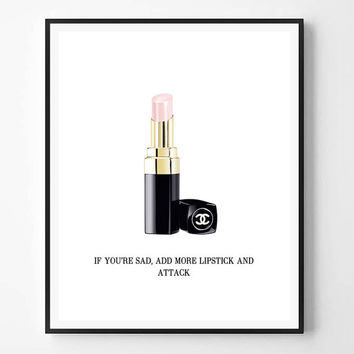 Chanel print, Lipstick print, Chanel art, Fashion Print, Pink lipstick, Fashion, Modern art, Typography Wall Art, Minimalist, Scandinavian