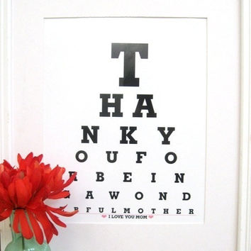 Thank You for Being a Wonderful Mom by Eyecharts on Etsy