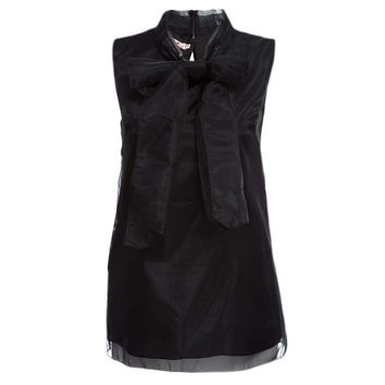 Sweet Fold Mandarin Collar Sleeveless Bowtie Back Button Solid Color Organza T-shirt for Women