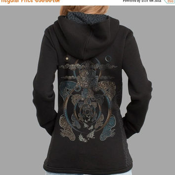 ON SALE Visionary Women Hooded Jacket, Sacred Geometry, Buddha, Consciousness Spiritual Clothing, Psy Hoodie Sweatshirt. made in trance ;)