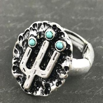 Antique Cactus Etched Stretch Ring - Antique Silver Tone