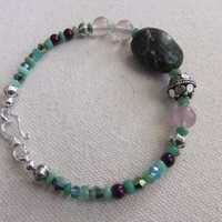 Natural Turquoise, Chrysoprase, Purple Fluorite, Crysta, and Sterling Silver Bracelet