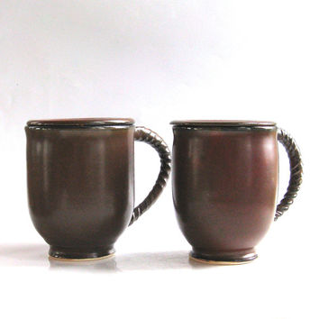 Set of Two Brick Red Mugs with Lids, Saucers - Mugs with Covers