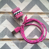 New Super Cute Black & White Chevron Designed USB Wall Connector + 3ft Hot Pink Braided iPhone 5/5s/5c Cable Cord