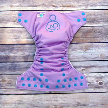 Cloth Pocket Diaper -  Embroidered Breastfeeding Support - Purple One Size Diaper- Gender Neutral Cloth - Eco-Friendly - In Stock - Reusable