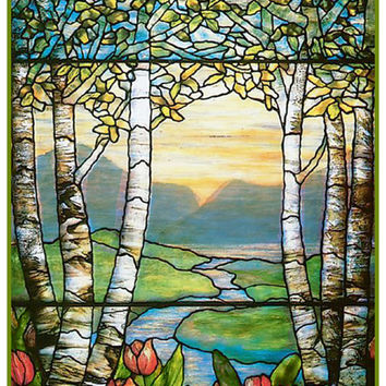 Tulip Flowers and Birch Trees inspired by Louis Comfort Tiffany  Counted Cross Stitch or Counted Needlepoint Pattern