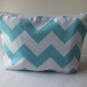 Makeup Bag, Camera bag, phone case, card holder Zipper Pouch. Aqua Chevron