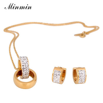 Minmin 316L Stainless Steel Jewelry Sets for Women Real Gold Plated Pendant Necklace Earrings African Beads Jewelry Set TL326
