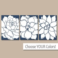 Flower WALL ART, CANVAS or Prints, Navy Blue Bathroom Pictures, Home Decor, Blue Bedroom Decor, Floral Wall Art, Set of 3 Wall Decor