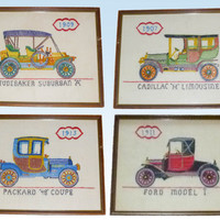 Set of 4 Art Vintage Automobile Hand Stitched Crewel Work Embroidery Framed 1911 Ford Model T Car, Cadillac, Studebaker, Packard Autos
