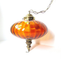 Vintage Hanging Swag Lamp - Amber Glass Globe Light