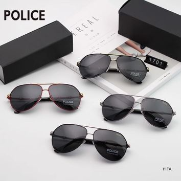 POLICE 2018 new men's bamboo mirror legs retro large frame polarized sunglasses