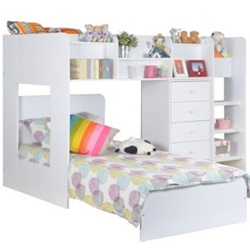 KIDS WIZARD L SHAPED BUNK BED in White