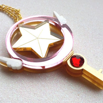 Star Key Necklace: SAKURA STAR KEY Metallic Gold Laser Cut Acrylic Star Key Necklace