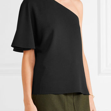 Tibi - One-shoulder stretch-crepe top