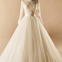 Ivory Modest French Lace Handmade A line Princess Wedding Gown