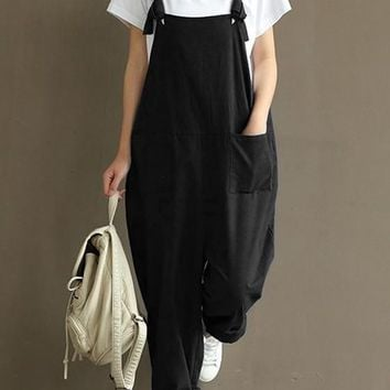 Black Pockets Shoulder-Strap Sewing High Waisted Casual Long Jumpsuit