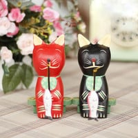 Wooden Couple Cats Fishing Decoration Accessory Home Decor [6282292486]