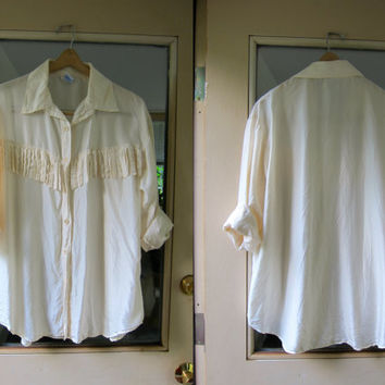 fringed silk blouse button up silk cream white shirt long sleeve silk top Minimal silk fringe blouse boho preppy womens blouse XL Large