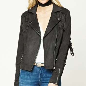 Fringed Faux Suede Moto Jacket