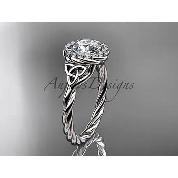 Platinum rope celtic engagement rings RPCT997