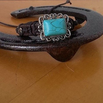 Leather Wrap Bracelet., Boho Bracelet, Horse Bracelet, Leather Cuff, Adjustable Wrap, Cowgirl Jewelry, Turquoise Bracelet, Equine Bracelet