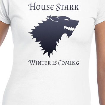 Blue House Stark Winter Is Coming Game Of Thrones Inspired T-Shirt Design