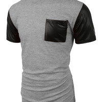 Mens Faux Leather Slub Raglan Short Sleeve T Shirt with Pockets
