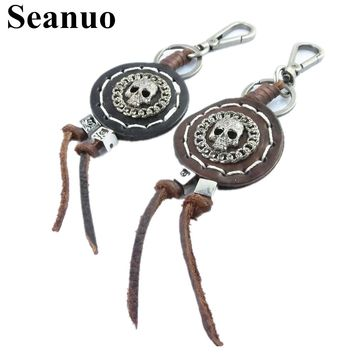 Tassel skull genuine leather key chain for men women punk rock