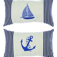 A.M.B. Furniture & Design :: Accessories :: Throw pillows :: Misc. Sizes :: Assorted Fabric Pillow with Elegant Embroidery in Blue - Set of 2