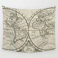 Vintage Map of The World (1708) 2 Wall Tapestry by BravuraMedia