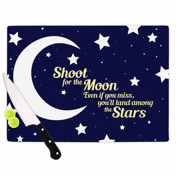 """NL Designs """"Moon And Stars Quote"""" Blue White Cutting Board"""