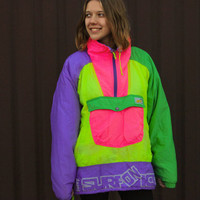 "80's Neon Ski Jacket / Unisex Electric ColorBlock Pullover Winter Parka / Vintage Puffer Windbreaker Anorak AVV by Sorry ""Surf on Ice"" L XL"