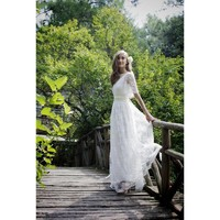 With Flare Sleeves Hippy White Classic Lace Wedding Dress